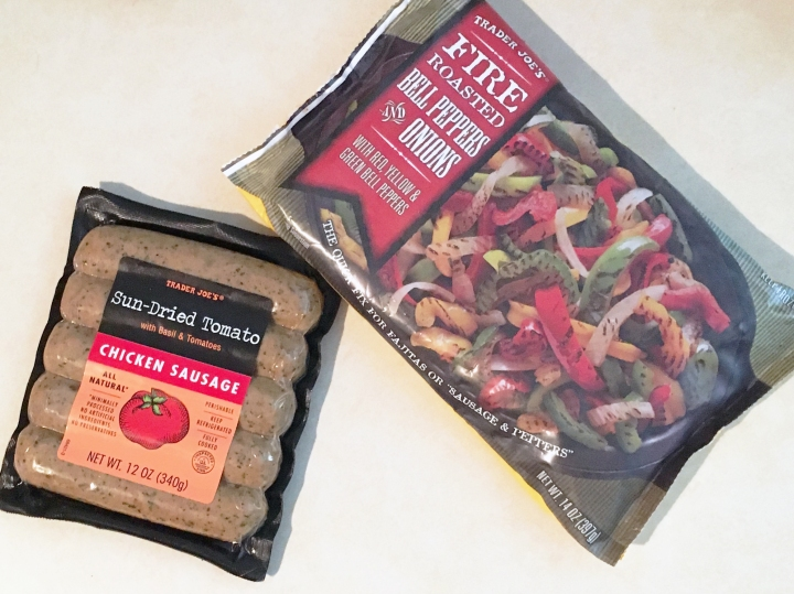 Trader Joe's sausage with peppers and onions