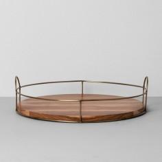 Round Wood Wire Tray