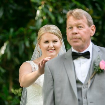 Father, Daughter First Look Before Wedding