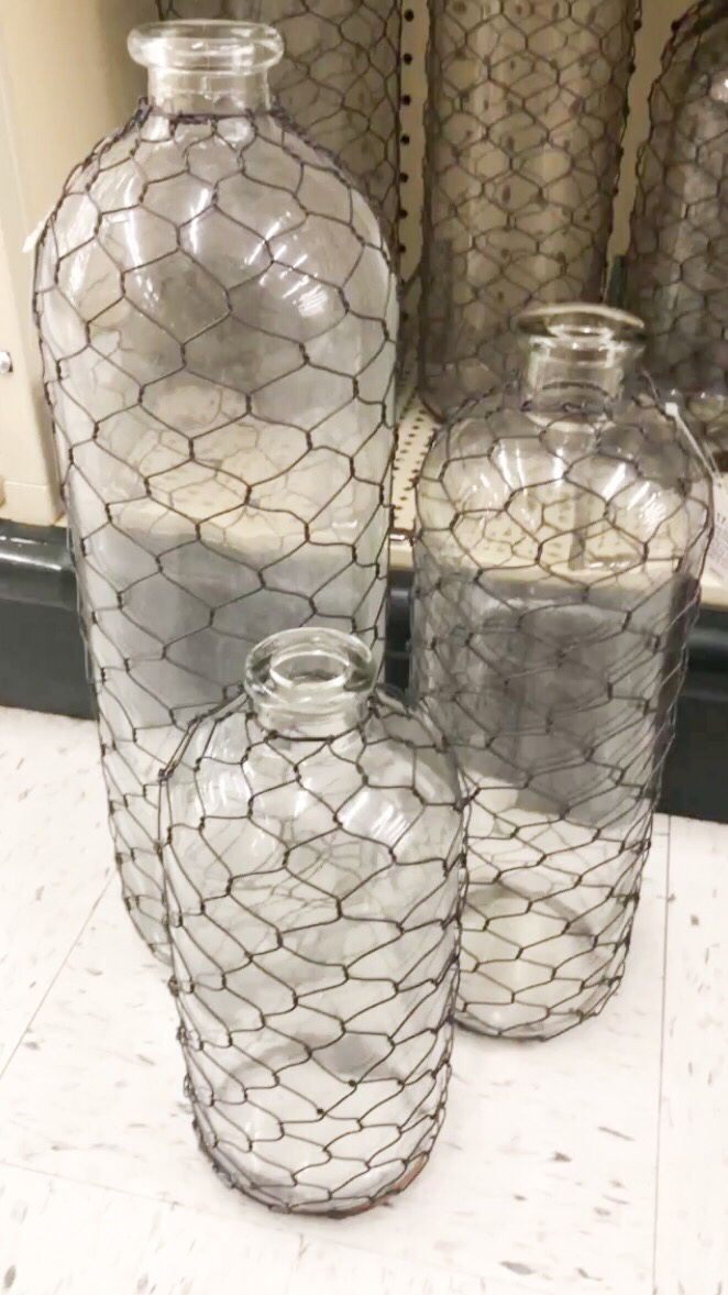 Glass Bottles with Chicken Wire at Hobby Lobby — Dammit, Hali