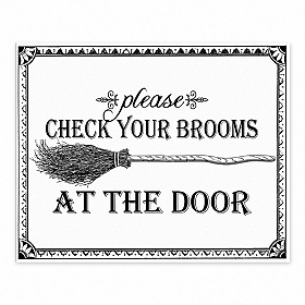 Check Your Brooms Halloween Tabletop Canvas Easel
