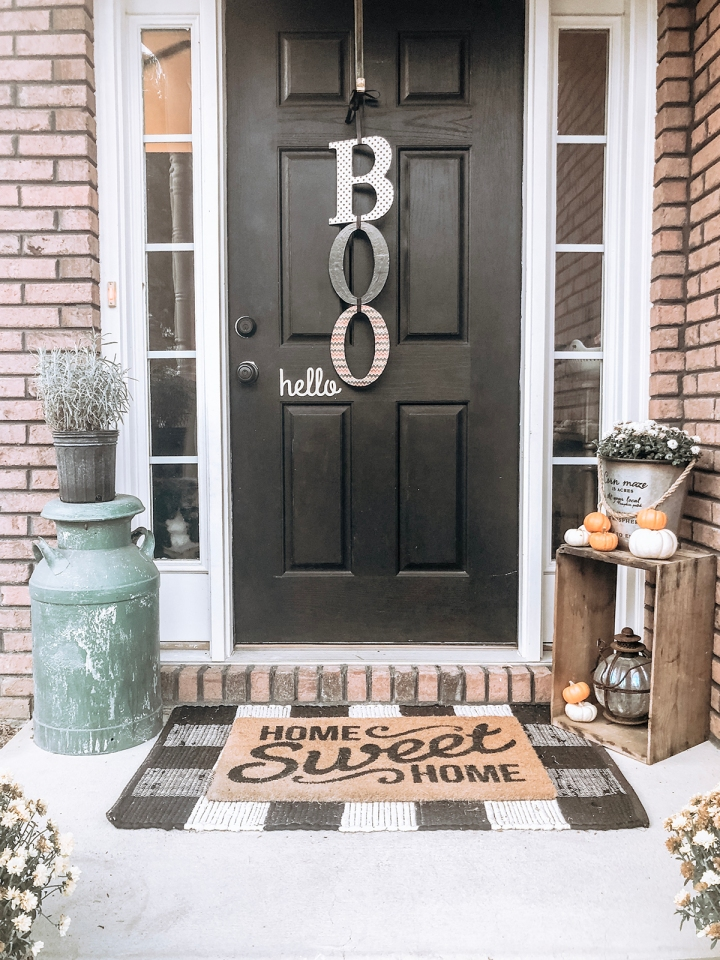 Fall Front Porch Doormat and Buffalo Check Rug