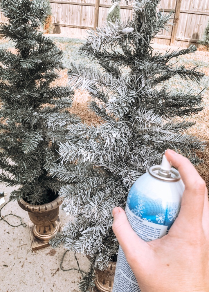 DIY Faux Flocked Christmas Trees for your Porch