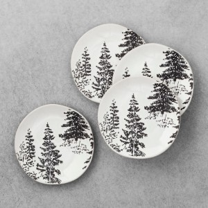 STONEWARE APPETIZER PLATES WITH TREES 2