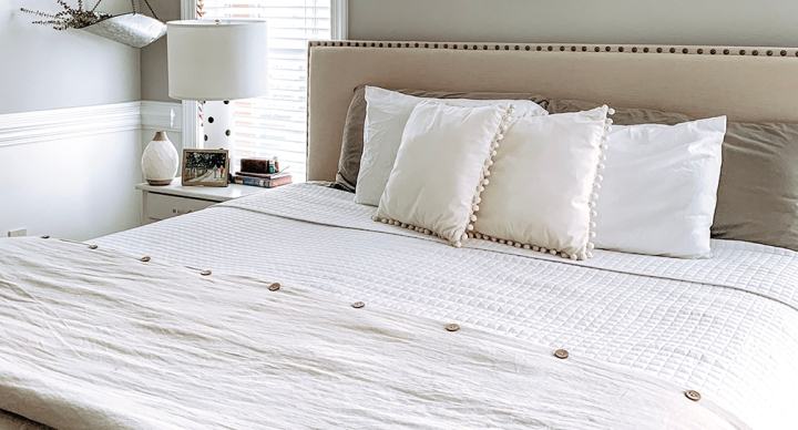White, Neutral Master Bedroom Bedding from Amazon